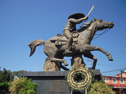 Equestrian statue of Emiliano Zapata, dedicated by President José López Portillo in Cuernavaca, Morelos, 1978, showing General Zapata with a machete rather than a military sword Cuernavaca 6117b o.jpg