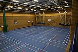 Sports hall, climbing wall, indoor cricket nets from viewing gallery