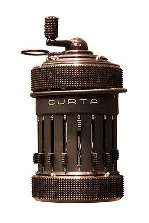 Curta - Curta Type I, on display at the Musée des Arts et Métiers, Paris.