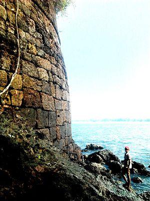 Basavaraj Durga Island - Fort wall in a curve shape