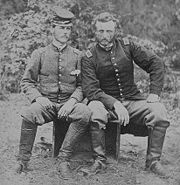 Second Lieutenant George Custer (right) with captured Confederate Lieutenant Washington, at Fair Oaks, 1862 (Library of Congress)