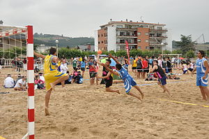 Beach handball - Goal shot in a men's beach handball game