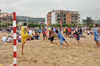 Beach handball - Goal shot in a men's beach handball game