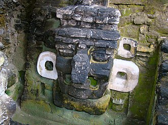 Tikal Temple 33 - Giant mask from the west side of the second version of Temple 33