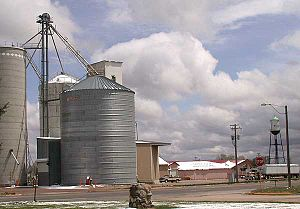 Pierce, Colorado - Grain elevator and water tower along U.S. Highway 85 in Pierce, Colorado