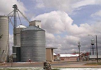 Pierce, Colorado - Grain elevator and water tower along U.S. Highway 85 in Pierce, Colorado