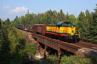 Duluth, South Shore and Atlantic Railway - A former Duluth, South Shore and Atlantic Railway RS-1 locomotive leads a photo charter for the Lake Superior Railroad Museum in 2009