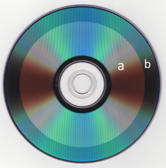 "Scan of a DVD-R; the ""a"" portion has been recorded on while the ""b"" portion has not. It may be less obvious in CD-Rs and BD-Rs. DVD-4.5-scan b.png"
