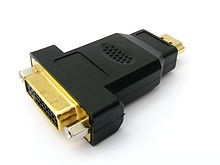 An adapter with a DVI receptacle connector to HDMI plug connector.
