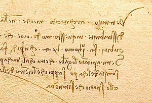 Mirror writing - The notes on Leonardo da Vinci's famous Vitruvian Man image are in mirror writing.
