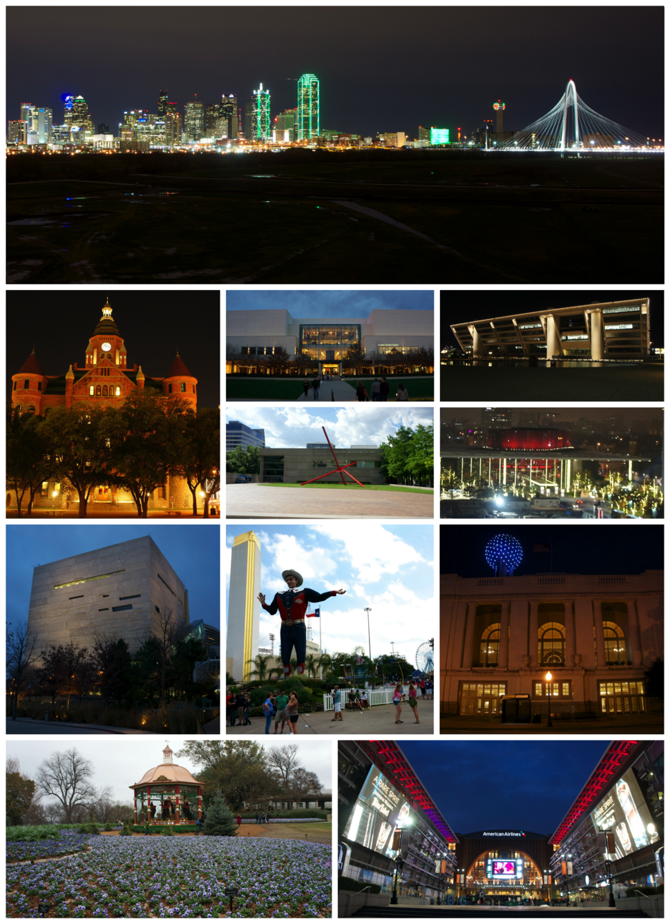 Top to bottom, left to right: Downtown Dallas skyline, Old Red Museum, NorthPark Center, Dallas City Hall, Dallas Museum of Art, Winspear Opera House, Perot Museum of Nature and Science, State Fair of Texas at Fair Park, Dallas Union Station, the Dallas Arboretum and Botanical Garden, and the American Airlines Center