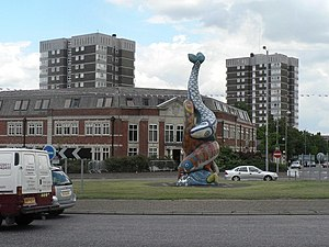 Erith - A 'dancing fish' statue at the roundabout in the town centre