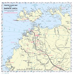 A map of the Darwin region showing the location of airstrips and other geographical features referred to in the article. Darwin and its RAAF and civil airstrips is in the centre of the map and the other airstrips referred to in the article are to the south-east of the town and are next to a road marked with a thick black line.