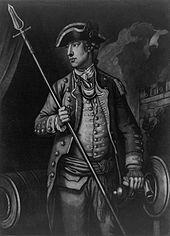 Impresión mezzotinta en blanco y negro de un retrato de tres cuartos.  Wooster está de pie, mirando a la izquierda, con uniforme militar, sosteniendo una pica en la mano derecha, con la mano izquierda apoyada en un cañón.