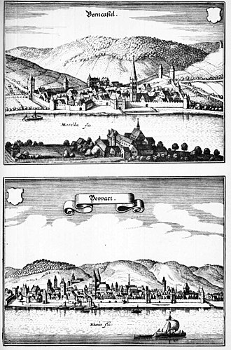 Mosel (wine region) - The wine village Bernkastel in 1646 (upper picture)