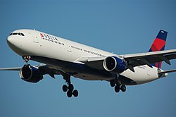 Delta Air Lines A330-323 (N809NW) landing at Amsterdam Airport Schiphol (1).jpg