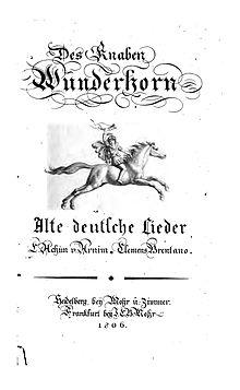 Des Knaben Wunderhorn. Titelblatt der Erstausgabe von 1805 (Quelle: Wikimedia)