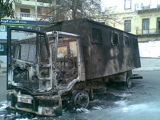 Timeline of the Egyptian revolution of 2011 - Police vehicle that was burned during the night of 28 January