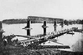 Bridgeport, Alabama - Railway bridge in Bridgeport destroyed by retreating Confederates, 1861