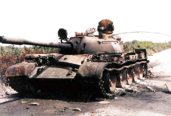 Destroyed tank on the road to Drnis 1