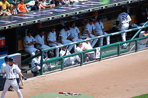 Dugout (baseball) - The dugout of the Detroit Tigers in Comerica Park is located on the third base side.