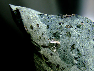 Finsch diamond mine - Natural diamond crystal in kimberlite from Finsch Diamond Mine