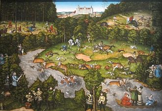 Lucas Cranach the Elder - Hunting near Hartenfels  castle (1540).