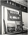 "Display with picture of Mayor John F. Collins and ""Boston All-America City"" flag in window of British Overseas Airway Company office on Boylston Street (11191743655).jpg"