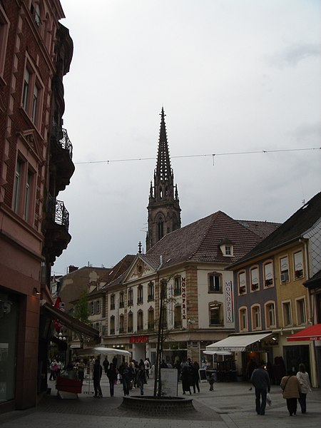 Mulhouse from Rue du Sauvage with Temple Saint-Etienne in background