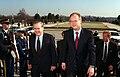 Donald Rumsfeld escorts German Minister of Defense Rudolf Scharping, 2001.jpg
