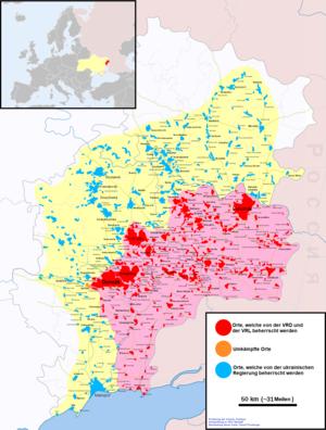 Karte des Donbeckens (Stand Dezember 2019) mit vermutetem Frontverlauf, rosa Flächen mit rot gekennzeichneten Orten: Beherrschte Gebiete der Unabhängigkeitskämpfer. Orangefarbene Orte: umkämpfte Orte.