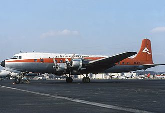 Delta Air Transport - A DAT Douglas DC-6 at Antwerp Airport in 1976.
