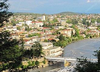 Kutaisi - Image: Downtown Kutaisi & White Bridge as seen from Mt Gora (August 2011) cropped