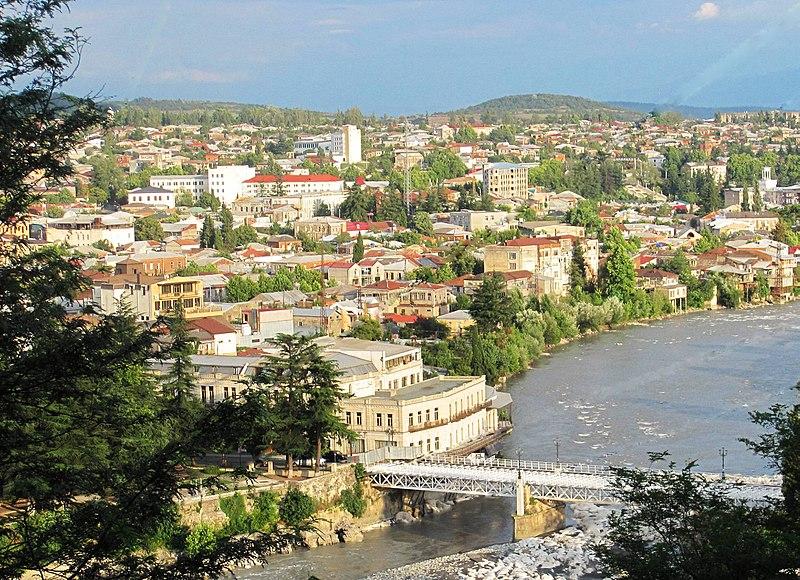 Downtown Kutaisi & White Bridge as seen from Mt Gora (August 2011)