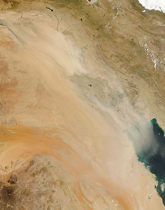 Geography of Iraq - Dust storms in Iraq, on July 30, 2009.