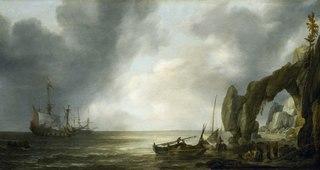 Dutch Men-of-War off a Craggy Coast