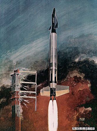Boeing X-20 Dyna-Soar - An artist's impression of Dyna-Soar being launched using a Titan booster, with large fins added to the Titan's first stage