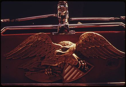Eagle insignia on an FDNY rig, 1974. Photo by Danny Lyon. EAGLE INSIGNIA ON A NEW YORK CITY FIRE DEPARTMENT TRUCK. THIS PROJECT IS A PORTRAIT OF THE INNER CITY ENVIRONMENT. IT... - NARA - 555932.jpg