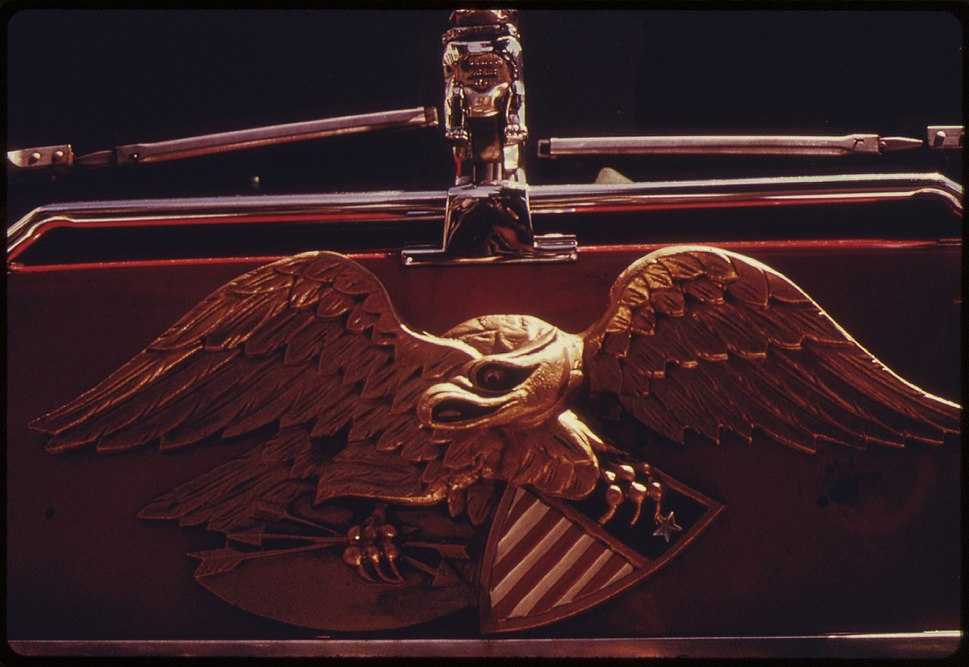 EAGLE INSIGNIA ON A NEW YORK CITY FIRE DEPARTMENT TRUCK. THIS PROJECT IS A PORTRAIT OF THE INNER CITY ENVIRONMENT. IT... - NARA - 555932