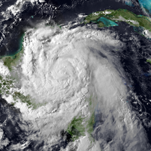 Visible satellite imagery of an intensifying Hurricane Earl approaching Belize on August 3