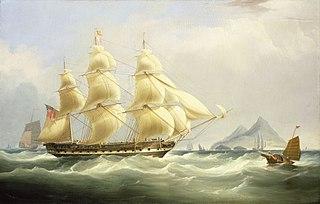 Tall ship sailing on choppy seas