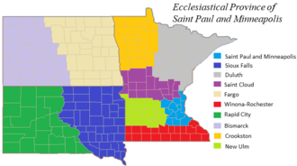 Roman Catholic Archdiocese of Saint Paul and Minneapolis - Diocesan map of the Province of Saint Paul and Minneapolis.