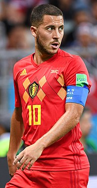 Eden Hazard, current team captain and second top scoring player for Belgium. Eden Hazard 2018.jpg
