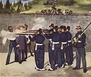 Miguel Miramón - The Execution of Emperor Maximilian (1868–69), flanked by Generals Miguel Miramón and Tomás Mejía by Eduard Manet, oil on canvas, 252 x 305 cm. Kunsthalle Mannheim