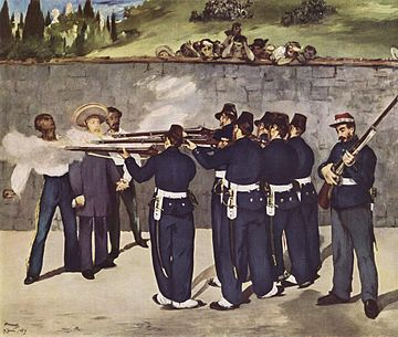 Execution of the Emperor by Édouard Manet (this depiction is inaccurate, as Maximilian did not stand in the center at his execution, nor did he wear a hat). However, Miramón (right) and Mejía (left) are depicted according to photographic portraits