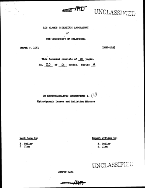File:Edward Teller & Stanislaw Ulam 1951 On Heterocatalytic Detonations - Secret of hydrogen bomb - p 1.png
