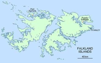 Puerto Soledad - Location of Puerto Soledad, Falkland Islands