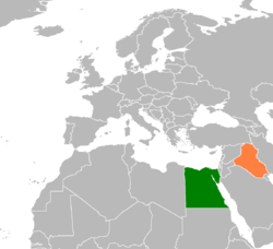 Map indicating locations of Egypt and Iraq