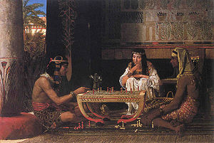 Lawrence Alma-Tadema - Egyptian Chess Players (1865), oil on wood, 39.8 × 55.8 cm. Private collection.