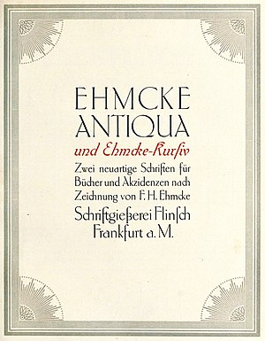 Fritz Helmuth Ehmcke - A specimen of Ehmcke's Ehmcke Antiqua from a 1912 book.
